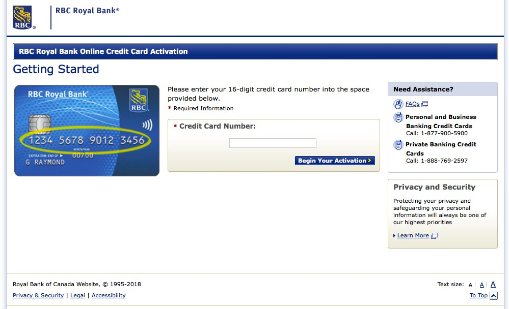 RBC Visa Card Activation